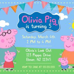 Peppa Pig Inspired Birthday Invitation Printable ---------------------------------------------------------------- THIS IS A DIGITAL FILE! NO PRINTED MATERIALS WILL BE MAILED / SHIPPED TO YOUR ADDRESS! **Watermark will not be on the file** -------------------------------------------------------- The invitation is customized to either 4x6 or 5x7 High Resolution Digital File (Jpeg) HOW TO MAKE AN ORDER: 1. Select the size (4x6 or 5x7), add item to your cart and pay via PayPal. 2. Add the...