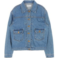 Denim Blend Button-Down Jacket (73 CAD) ❤ liked on Polyvore featuring outerwear, jackets, denim jackets, tops, long sleeve jean jacket, button up jacket, blue jean jacket, jean jacket and bunny jacket