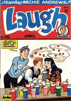 Laugh~ starting at issue 20 (for it was continued from another comic book, Laugh went on to issue 400 from Fall 1946 – April Archie Comics, Archie Comic Books, Vintage Comic Books, Vintage Comics, Comic Books Art, Comic Art, Archie Betty And Veronica, American Splendor, Romantic Comics