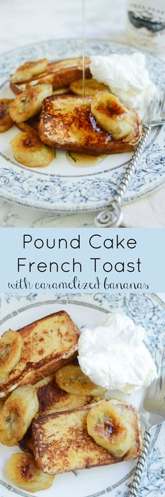 Pound Cake French Toast with Caramelized Bananas - the most decadent French toast! And you won't believe how easy it is! This sounds wonderful! What's For Breakfast, Breakfast Items, Breakfast Dishes, Breakfast Recipes, Brunch Dishes, Brunch Recipes, Sweet Recipes, Party Recipes, Drink Recipes