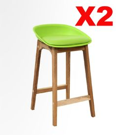 Set of 2 Lora Black, White or Lime Acrylic and Timber Bar Stools - BRAND NEW