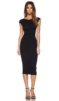 James Perse Sleeveless Tucked Dress in Black | REVOLVE