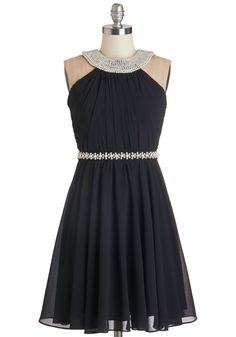 Marvel at the Moon Dress. The moon's glow is just bright enough to illuminate the pearl-dotted neckline and waist of your romantic black dress as you walk through the theater district with your sweetheart. #black #prom #modcloth