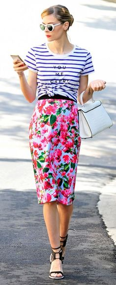 Floral And Stripes Outfit Idea