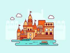 Varanasi, India designed by ✨ Lilla Bardenova ✨. Connect with them on Dribbble; Diy Screen Printing, India Design, Graphic Art, Graphic Design, Cityscape Art, Indian Architecture, Varanasi, Flat Illustration, Icon Design