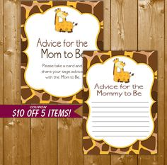 Giraffe Advice for Mommy to Be Baby Shower Games Giraffe Game with Sign, Giraffe Shower Games, Printable Instant Download