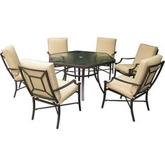 7 Piece Seat Cushion Outdoor Home Patio Dining Set Furniture Deck Poolside Yard Discount Patio Furniture, Outdoor Furniture Sets, Outdoor Decor, Patio Dining, Dining Set, Seat Cushions, New Homes, Walmart, Interior