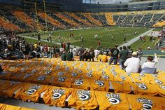 Opening day. The Packers opened the season against the 49ers. Every seat had a Packer shirt on it for the fans to wear! I was there!