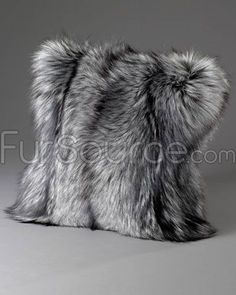 silver indigo fox fur pillows