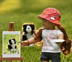 """Ok Rembrandt! Good boy! What do you think??"" (Saige is such a good artist!)"