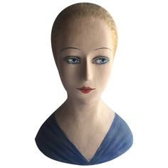 French Milliners Paper Mache Head   From a unique collection of antique and modern sculptures at https://www.1stdibs.com/furniture/decorative-objects/sculptures/