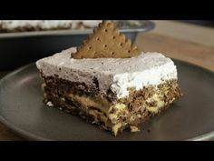 Perfect sweet fridge with chocolate and biscuit … – pastry types Icebox Desserts, Icebox Cake, No Bake Desserts, Dessert Recipes, Greek Sweets, Greek Desserts, Low Calorie Cake, Desserts With Biscuits, Coconut Hot Chocolate