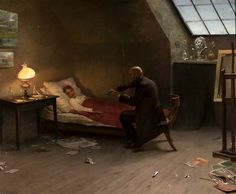 Death of the artist. The last friend, oil on canvas, 1901 Zygmunt Andrychewicz (1861-1943)