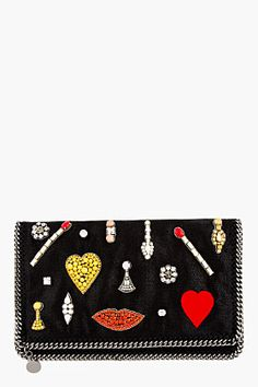 Stella McCartney Black Embroidered Jewel Foldover Clutch for women | SSENSE