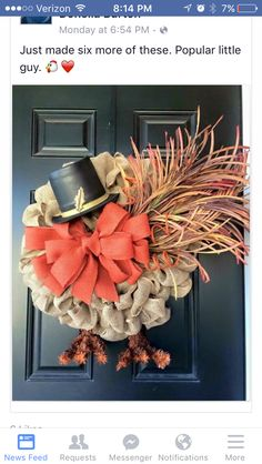 20 Amazing DIY Wreaths to Craft This Fall - Thanksgiving Decorations Diy Thanksgiving Wreaths, Holiday Wreaths, Thanksgiving Turkey, Mesh Wreaths, Burlap Wreaths, Burlap Ribbon, Happy Thanksgiving, Winter Wreaths, Floral Wreaths