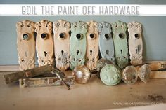 Flashback Friday: Boiling the Paint off Door Hardware (Brooklyn Limestone) Shutter Projects, Wood Projects, Projects To Try, Recycled Furniture, Furniture Redo, Vintage Shutters, Painting On Wood, Painting Tips, Trash To Treasure