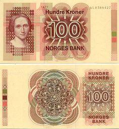 Norway 100 Kroner 1977 Norwegian writer Camilla Collett (1813-1895).