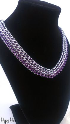 Purple and Silver Dragonscale Chainmaille Necklace by GypsyGrove