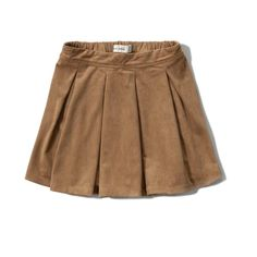 Abercrombie & Fitch girls faux suede pleated skirt ($35) ❤ liked on Polyvore featuring skirts, brown, knee length pleated skirt, brown skirt, pleated skirt, abercrombie & fitch y elastic waist skirt