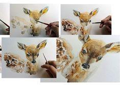 Watercolor painting in progress Watercolor Animals, Watercolor Print, Watercolor Paintings, Deer Art, Moose Art, Nursery Prints, Nursery Art, Woodland Animals, Wall Decor