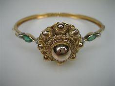 Gouden oude armband 18krt.met Diamanten en Smaragd NR.4201AJS