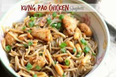 Kung Pao Chicken Spaghetti- Slurp worthy spaghetti glazed with spicy Kung Pao Sauce, crunchy peanuts and tender chicken pieces, prepared in just 30 minutes-Awesomely saucy and delicious!{from ticklethosetastebuds.blogspot.com}