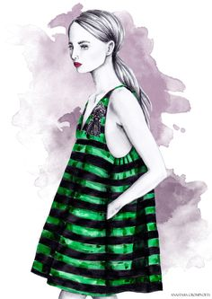 Fashion illustration of Rochas resort collection spring summer 2017