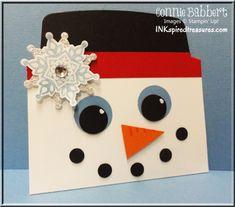 Snowman Gift Card Holder, Stampin Up, Punch Art, Festive Flurry, Envelope Liner Framelit, Connie Babbert, INKspiredtreasures.com