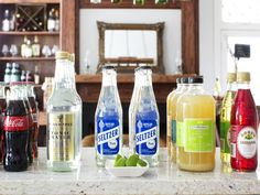 How to Host a Stock-The-Bar Wedding Shower: Mixers play an important part in the design of a successful stock-the-bar party. While mixers are low in price, they're high in demand and tend to be depleted early on if not stocked appropriately. A great assortment to keep in mind is multiple bottles of seltzer or soda water, simple syrups, grenadine, margarita mix, tonic, assorted sodas and juices.  From DIYnetwork.com