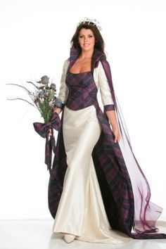 5 piece bridal outfit comprising bodice,A line skirt,detachable tartan lined train ,bolero jacket and silk chiffon shoulder drape with hand painted brooch. Made to measure  in your choice of colour and available silk tartans.  Tartan photographed Tartan Spirit designed by Joyce Young and exclusively available from By Storm in Glasgow and London.