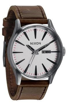 Think i like this nixon better, actually. Nixon 'The Sentry' Leather Strap Watch | Nordstrom