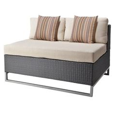 $272 City Center Wicker Patio Sectional Armless Loveseat