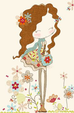 All about surface pattern ,textiles and graphics: Just working on some new winter girls with loads of textures