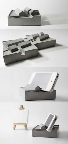 Concrete Mobile Phone Holder Stand Desk Stationery  Organizer Pen Pencil Holder Smart Phone Dock Stand Holder  Business Card Holder