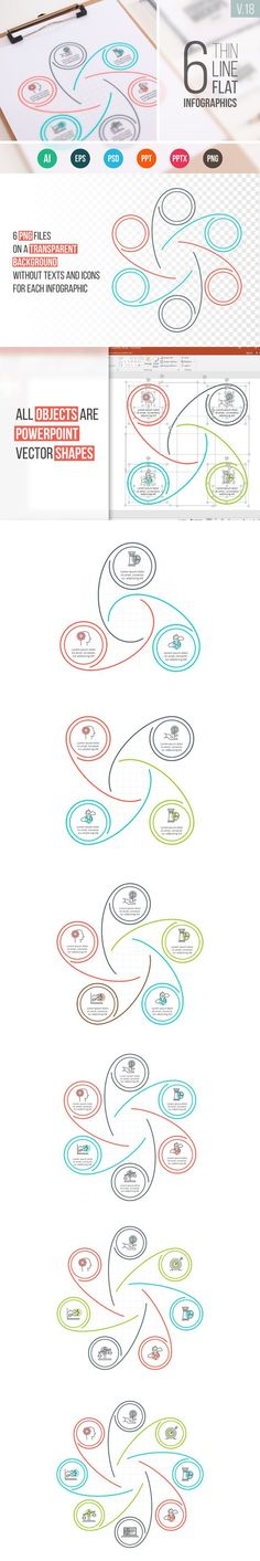 Linear elements for infographic v.18. Presentation Templates. $5.00