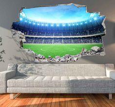 3D Muursticker Voetbalveld   Muurmode.nl