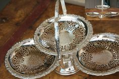 Queen Anne Silver plated three tier , cake / tit-bit stand folds  24.5cm tall and 22.5cm wide