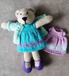 Another mauve, purple and green - but a gorgeous teddy this time - Little Cotton Rabbits