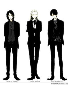 Severus Snape and Lucius Malfoy Harry Potter Animé, Harry Potter Severus Snape, Severus Rogue, Mundo Harry Potter, Harry Potter Universal, Garri Potter, Voldemort, Drarry, Fanarts Anime