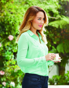 lc lauren conrad: mint green button up top