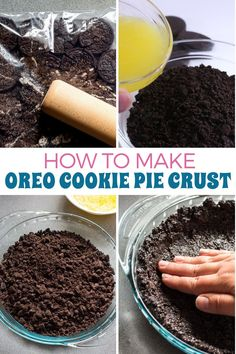 This Oreo cookie crust only requires 2 ingredients and your imagination… The sky is the limit for what incredible desserts you can make when you start with this recipe! Pie Crust Recipes, Fudge Recipes, Baking Recipes, Snack Recipes, Dessert Recipes, Candy Recipes, Fruit Recipes, Cheesecake Recipes, Easy Snacks