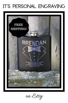 Classic Tuxedo designed hip flasks for the groom and groomsmen is perfect for the bachelor party and the wedding day! Get them for the ushers and officiant too! Free shipping when you buy in packs of 4, 8, and 12 flasks. #hipflask #flaskforgroomsman #groomsmengifts #weddingtuxedo #tuxedoflask #forbestman #frombestman #forbachelorparty #partyfavors #forweddingday #ushergifts #personalizedflask #bachelorpartygifts #fromgroom #whiskeyflask