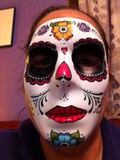 Day of the Dead mask w/ tattoos