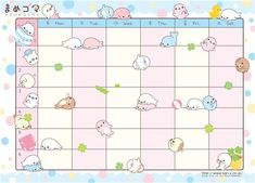 Cute free Mamegoma class schedule to print out Schedule Printable, Weekly Planner Printable, Class Schedule Template, Free Printable Stationery, Printable Scrapbook Paper, Printable Calendars, Rilakkuma, Memo Examples, Cute Calendar