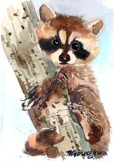 ACEO Limited Edition 2/25Cute raccoon by annalee377 on Etsy