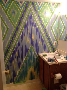 Love this Ikat painted wall idea via FrogTape® - Earn Your Stripes