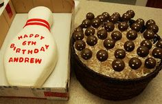 Bowling Party: Bowling Pin Cake & Bowling Ball Cake Pops