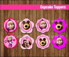 Masha and The Bear cupcakes toppers Printable Masha and The