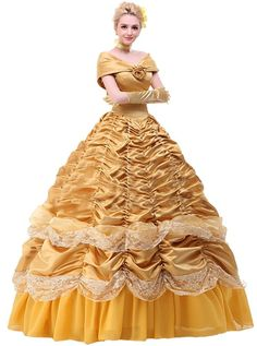 Amazon.com: Ace Deluxe Adult Women's Beauty and the Beast Belle Costumes Custom Made Dress: Clothing