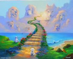 All Dogs Go to Heaven by Jim Warren - Oil Painting - 2013 All Dogs, Dogs And Puppies, Doggies, Dachshund Puppies, Weenie Dogs, Dachshunds, Jim Warren, Rainbow Bridge Dog, Pugs